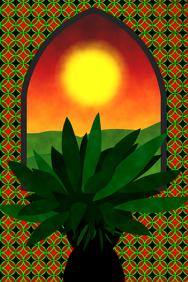 interior or garden design - succulent plant & ceramic tiles