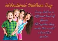 International children's day Postcard template