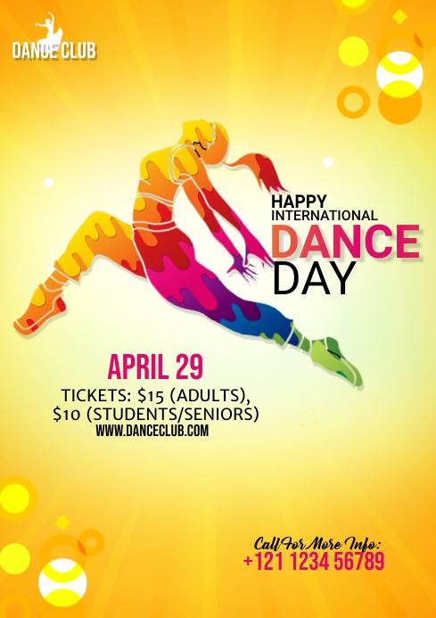 International Dance Day flyer Template A4