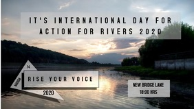 international day for action for rivers 2020 Video Sampul Facebook (16:9) template