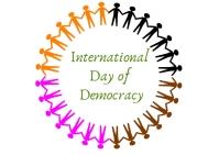 international day of democracy Poskaart template