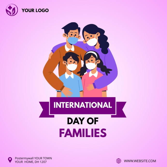 International Day of Families instagram post Vierkant (1:1) template