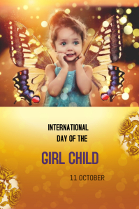 INTERNATIONAL DAY OF GIRL CHILD Плакат template