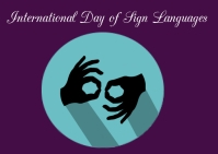 International day of sign languages Postcard template