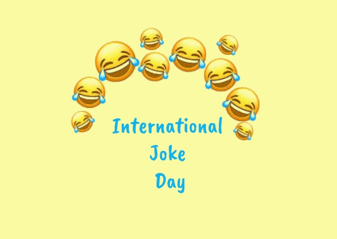 international joke day Postcard template