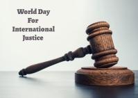 international justice day Postkort template