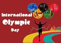 International Olympic Day ไปรษณียบัตร template