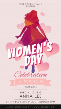 International Women's Day Celebration Portrait Digital Displ งานแสดงผลงานแบบดิจิทัล (9:16) template