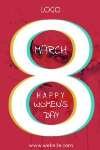 Happy Women's Day Плакат template