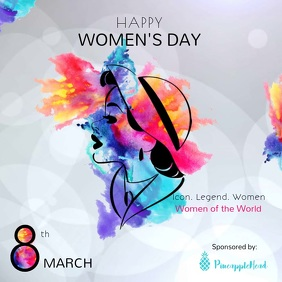 International Women's Day Event Square Video Persegi (1:1) template