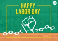 International workers day postcard template