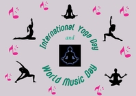 international yoga day and world music day Postcard template