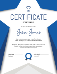 Internship Certificate Portrait
