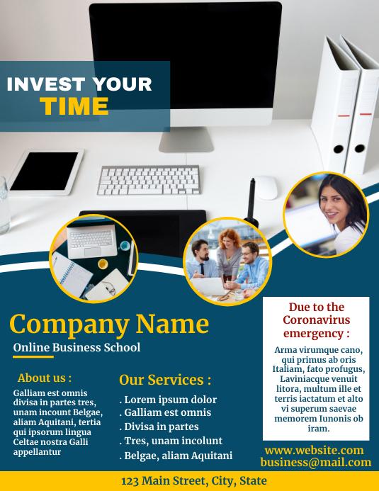 Invest your time online flyer social media Ulotka (US Letter) template