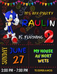 invitacion cumpleaños sonic invitation party Pamflet (Letter AS) template