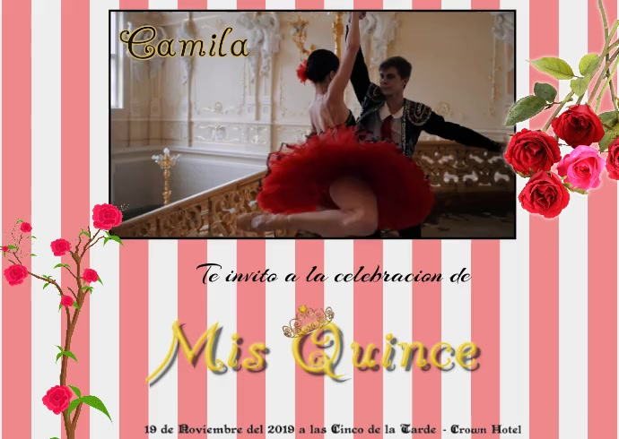 Invitacion Mis Quince/Sweet Sixteen/ Ballet Event Открытка template