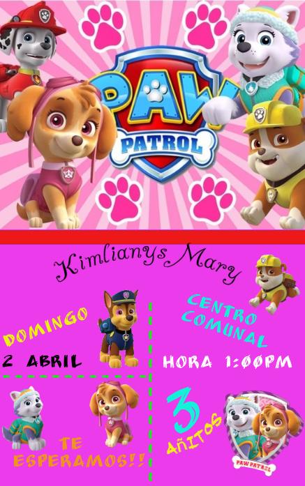 Invitacion Paw Patrol Template Postermywall