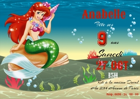 Invitation anniversaire Ariel A6 template