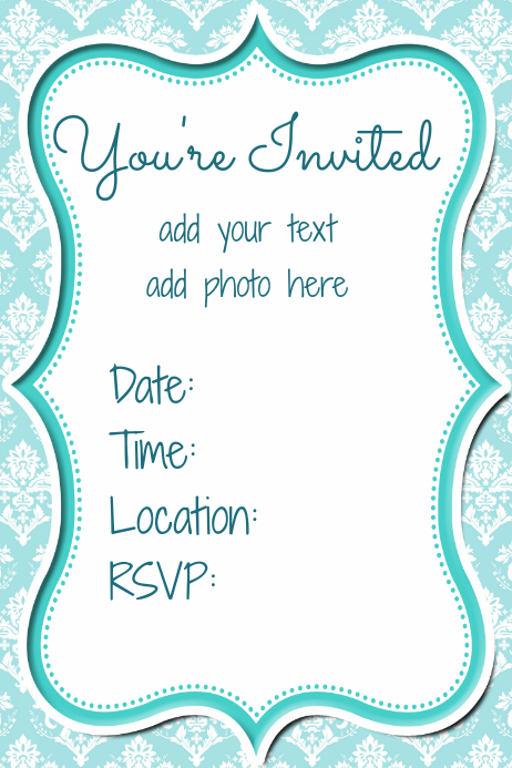 Invitation damask blue small business flyer party women
