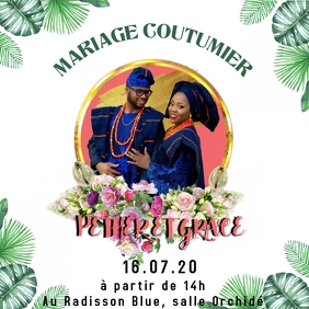 Invitation mariage Square (1:1) template