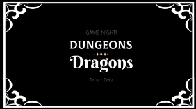 Invitation to a dungeons and dragons game Digital Display (16:9) template