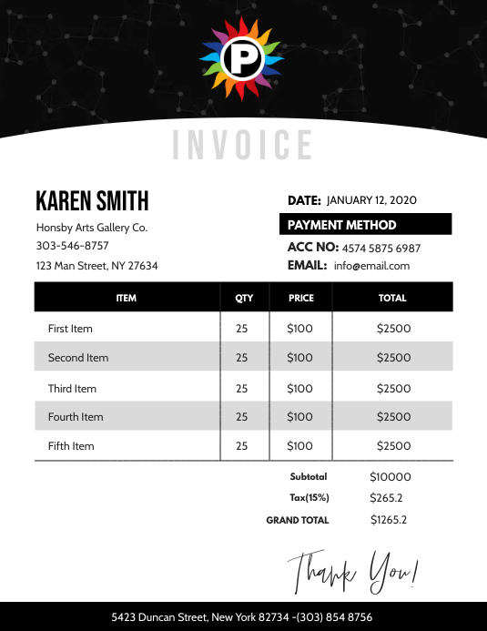 Invoice Flyer (format US Letter) template