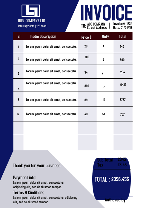 Invoice A4 template