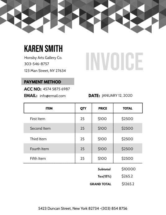 Invoice Pamflet (Letter AS) template