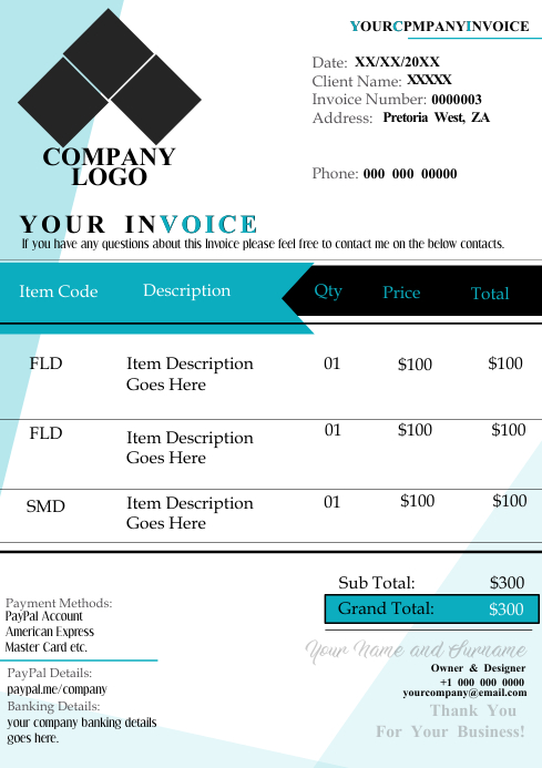 Invoice Template A4