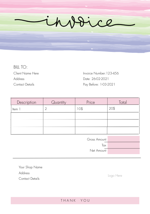 Invoice Templet A5 template