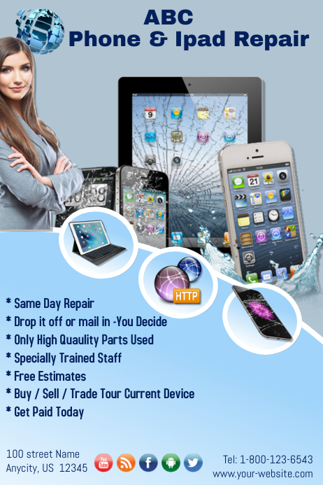 Ipad And Cell Phone Repair Template Postermywall