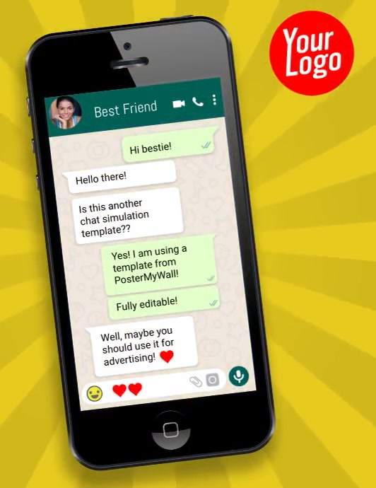 iphone cell phone whatsapp chat simulation Løbeseddel (US Letter) template