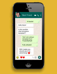 iphone cell phone whatsapp chat simulation Folheto (US Letter) template