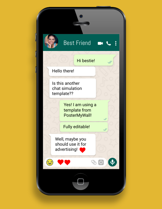 iphone cell phone whatsapp chat simulation Folder (US Letter) template
