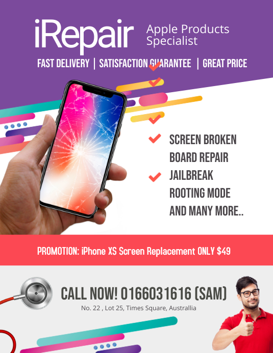Iphone Repair Specialist Flyer template