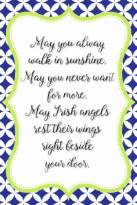 Irish Angels saying poem Irish blessings Poster Announcement