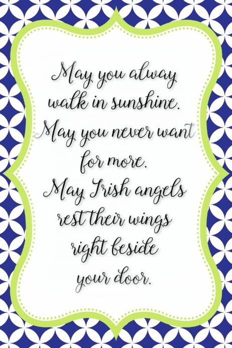 Irish Angels saying poem Irish blessings Poster Announcement