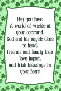 Irish Blessing Poem Poster St. Patrick's Day Bar Pub Flyer