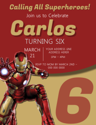 Iron Man Kids Party Invitation Template Flyer (US-Letter)