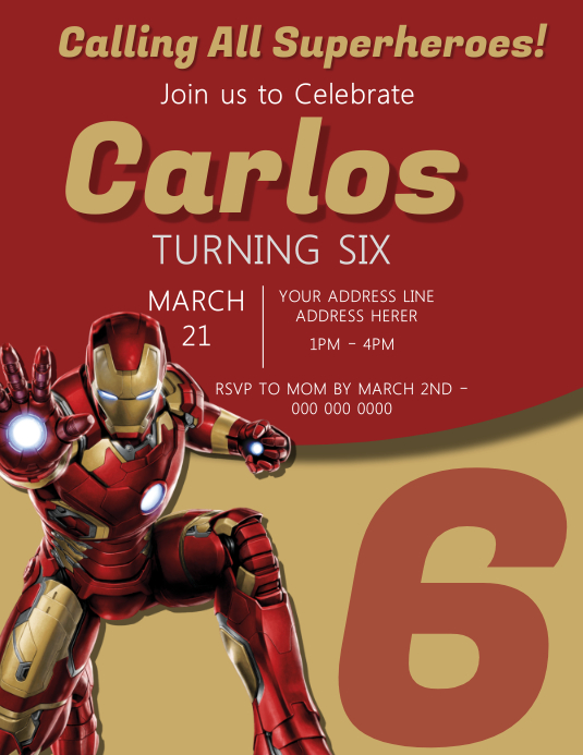 Iron Man Kids Party Invitation Template Volante (Carta US)