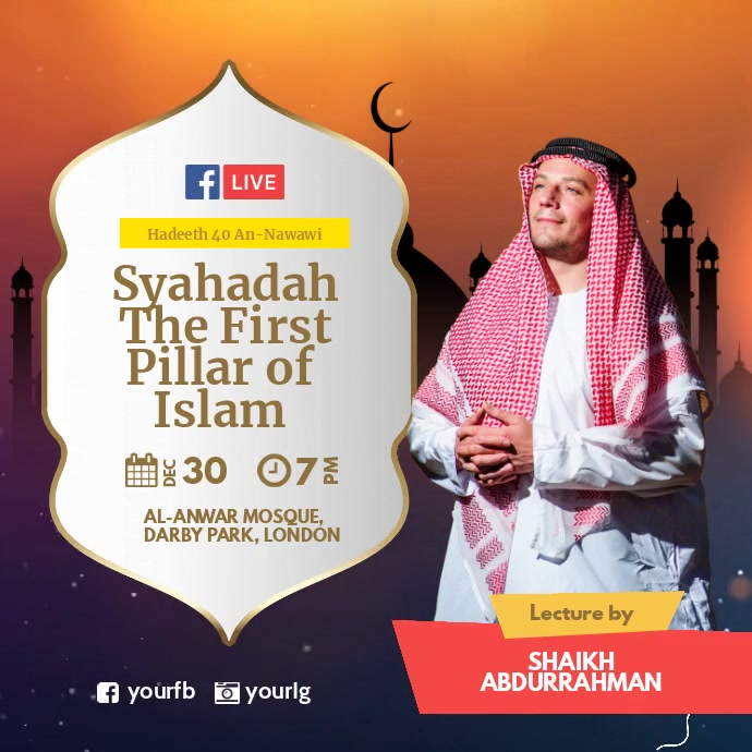 Islamic lecture Facebook Live Instagram na Post template