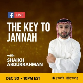 Islamic lecture Facebook Live Post Instagram template