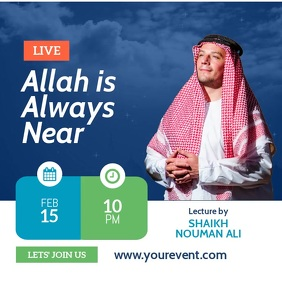 Islamic lecture Facebook Live Event Instagram Post template