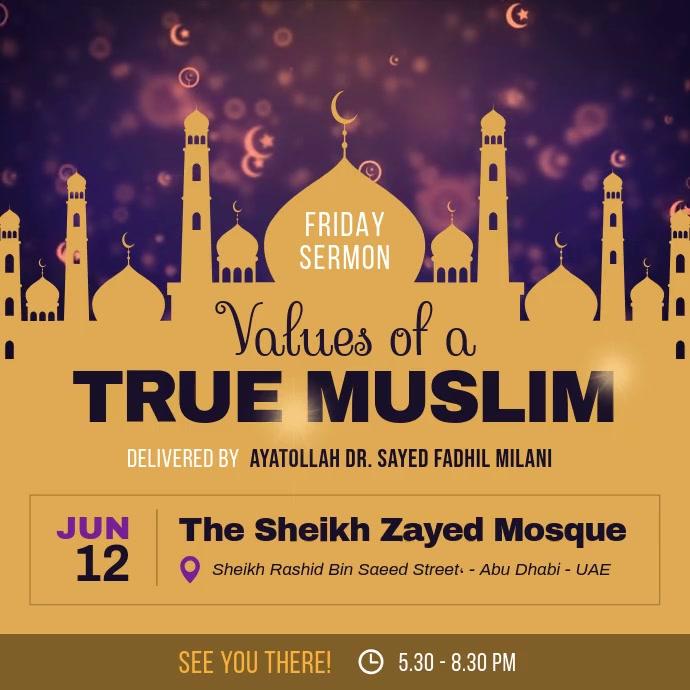 Islamic Scholar Friday Session Instagram Vide Persegi (1:1) template