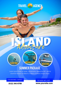 Island Adventure Summer Travel Flyer A4 template