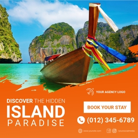 Island Paradise Summer Travel Instagram Post template