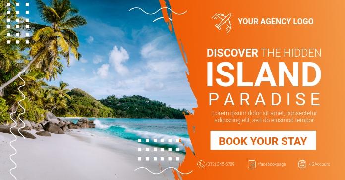 Island Paradise Travel Social Media รูปภาพที่แบ่งปันบน Facebook template