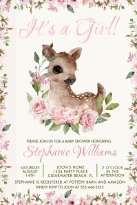 It's a Girl! Watercolor Deer and Pink Florals Poster template