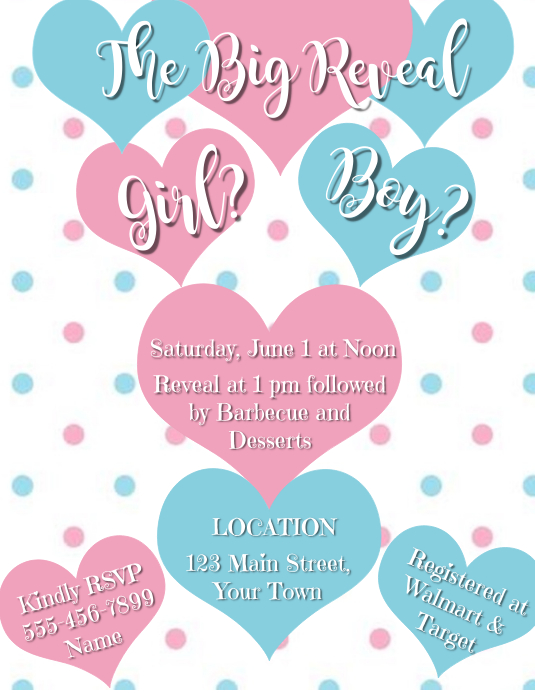 It's Love! Gender Reveal Hearts and Polka Dot Folder (US Letter) template