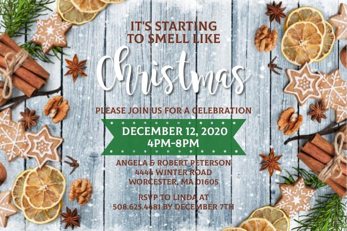 It's Starting To Smell Like Christmas Invite Rótulo template